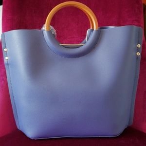 2-Piece Blue Vegan Leather Tote w/ Wooden Handles